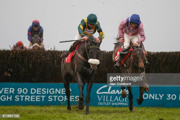Bryony Frost riding Present Man clear the last to win The Badger Ales Trophy Handicap Steeple Chase at Wincanton racecourse on November 11 2017 in...