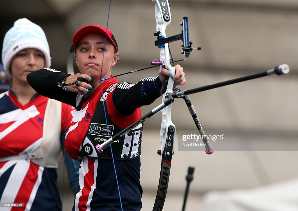 Bryony Pitman of Britain shoots during the Women's Recurve Bronze medal team match at the European Archery Championship on May 29, 2016 in Nottingham, England.