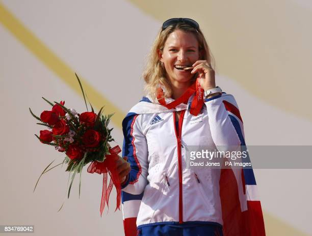 Bryony Shaw with the bronze medal she won at the RSX women's regatta at the 2008 Beijing Olympic Games Sailing Centre in Qingdao China