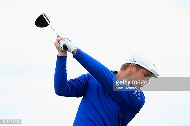 Bryson DeChambeau hits a driver on the driving range prior to the final round of the Franklin Templeton Shootout at Tiburon Golf Club on December 10...
