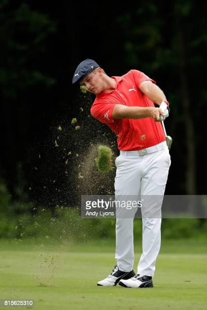 Bryson DeChambeau hits his approach shot on the sixth hole during the final round of the John Deere Classic at TPC Deere Run on July 16 2017 in...