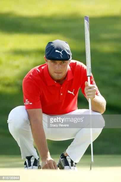 Bryson DeChambeau lines up a putt for eagle on the 17th green during the final round of the John Deere Classic at TPC Deere Run on July 16 2017 in...