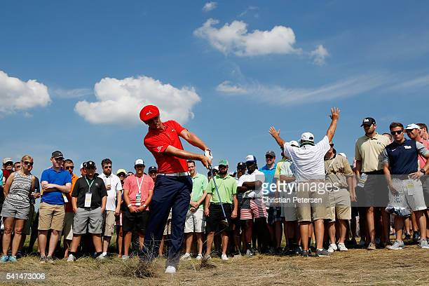 Bryson DeChambeau of the United States plays a shot from the rough during the final round of the US Open at Oakmont Country Club on June 19 2016 in...