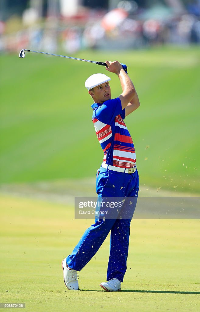 Bryson DeChambeau of the United States the 2015 US Amateur Champion plays his second shot at the par 4, first hole during the final round of the 2016 Omega Dubai Desert Classic on the Majlis Course at the Emirates Golf Club on February 7, 2016 in Dubai, United Arab Emirates.