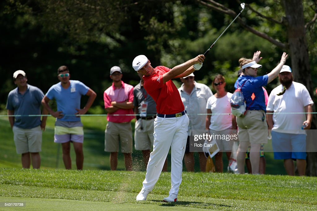 Bryson DeChambeau plays a shot on the 18th hole during the final round of the Quicken Loans National at Congressional Country Club on June 26, 2016 in Bethesda, Maryland.
