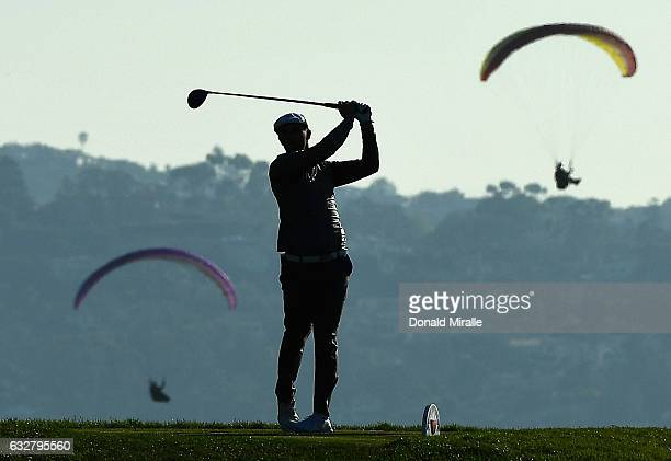 Bryson Dechambeau plays his shot from the sixth tee during the first round of the Farmers Insurance Open at Torrey Pines South on January 26 2017 in...