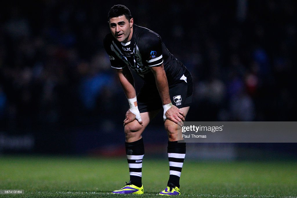 Bryson Goodwin of New Zealand watches on during the Rugby League World Cup Group B match at Headingley Stadium on November 8, 2013 in Leeds, England.