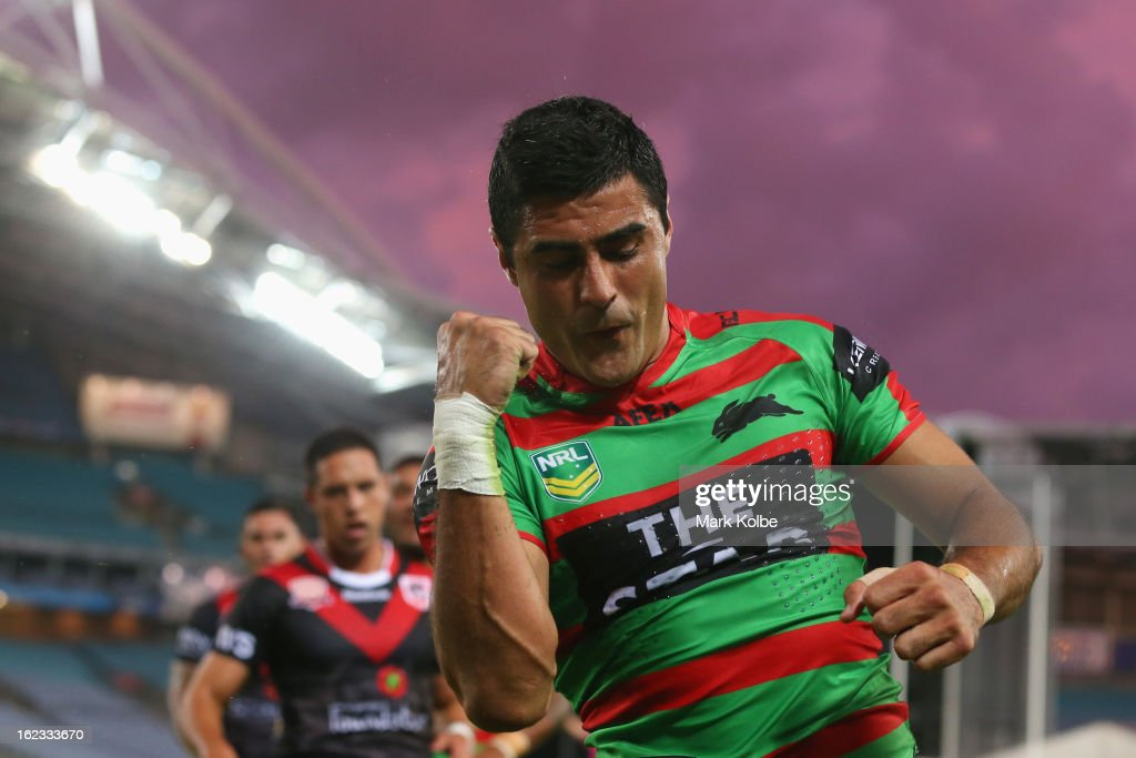 Bryson Goodwin of the Rabbitohs celebrates scoring a try during the NRL Charity Shield match between the South Sydney Rabbitohs and the St George Illawarra Dragons at ANZ Stadium on February 22, 2013 in Sydney, Australia.