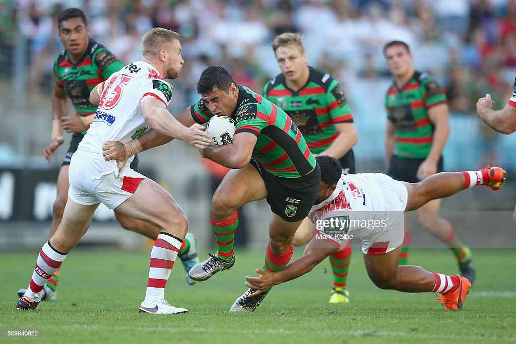<a gi-track='captionPersonalityLinkClicked' href=/galleries/search?phrase=Bryson+Goodwin&family=editorial&specificpeople=5036344 ng-click='$event.stopPropagation()'>Bryson Goodwin</a> of the Rabbitohs is tackled during the NRL Charity Shield match between the St George Illawarra Dragons and the South Sydney Rabbitohs at ANZ Stadium on February 13, 2016 in Sydney, Australia.