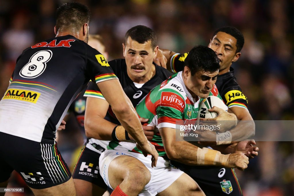 Bryson Goodwin of the Rabbitohs is tackled during the round six NRL match between the Penrith Panthers and the South Sydney Rabbitohs at Pepper Stadium on April 7, 2017 in Sydney, Australia.