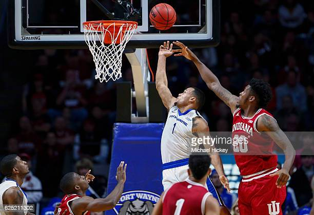 Bryson Scott of the Fort Wayne Mastodons shoots the ball as De'Ron Davis of the Indiana Hoosiers defends at Memorial Coliseum on November 22 2016 in...