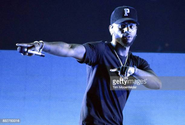 Bryson Tiller performs during his 'Set It Off' tour at Bill Graham Civic Auditorium on August 15 2017 in San Francisco California