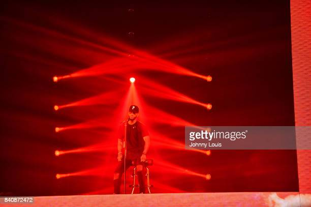 Bryson Tiller performs on stage during the 'Set It Off Tour' at Watsco Center on August 29 2017 in Coral Gables Florida
