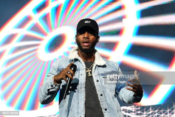 Bryson Tiller performs onstage at night two of the STAPLES Center Concert presented by CocaCola during the 2017 BET Experience at LA Live on June 23...