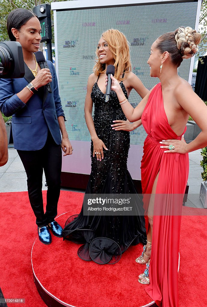 B.Scott, rapper Lil' Mama, and recording artist <a gi-track='captionPersonalityLinkClicked' href=/galleries/search?phrase=Adrienne+Bailon&family=editorial&specificpeople=540286 ng-click='$event.stopPropagation()'>Adrienne Bailon</a> attend the P&G Red Carpet Style Stage at the 2013 BET Awards at Nokia Theatre L.A. Live on June 30, 2013 in Los Angeles, California.