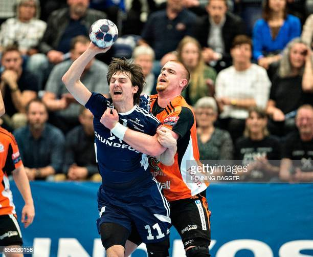 BSVs Sebastian Skube vies with Szeged's Matej Gaber during their Velux EHF Handball Champions League match between BSV Pick Szeged at the Jysk Arena...