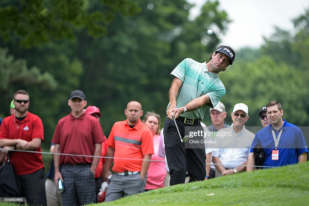 Bubba Watson chips to the second green during the second round of the World Golf Championships-Bridgestone Invitational at Firestone Country Club on July 1, 2016 in Akron, Ohio.