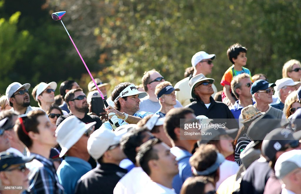 Bubba Watson hit his tee shot on the 18th hole during the final round of the Northern Trust Open at Riviera Country Club on February 16, 2014 in Pacific Palisades, California.