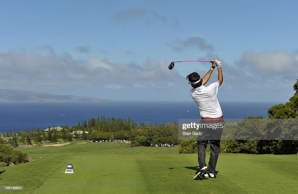 Bubba Watson hits a drive on the 17th hole during the final round of the Hyundai Tournament of Champions at Plantation Course at Kapalua on January 8, 2013 in Kapalua, Maui, Hawaii.