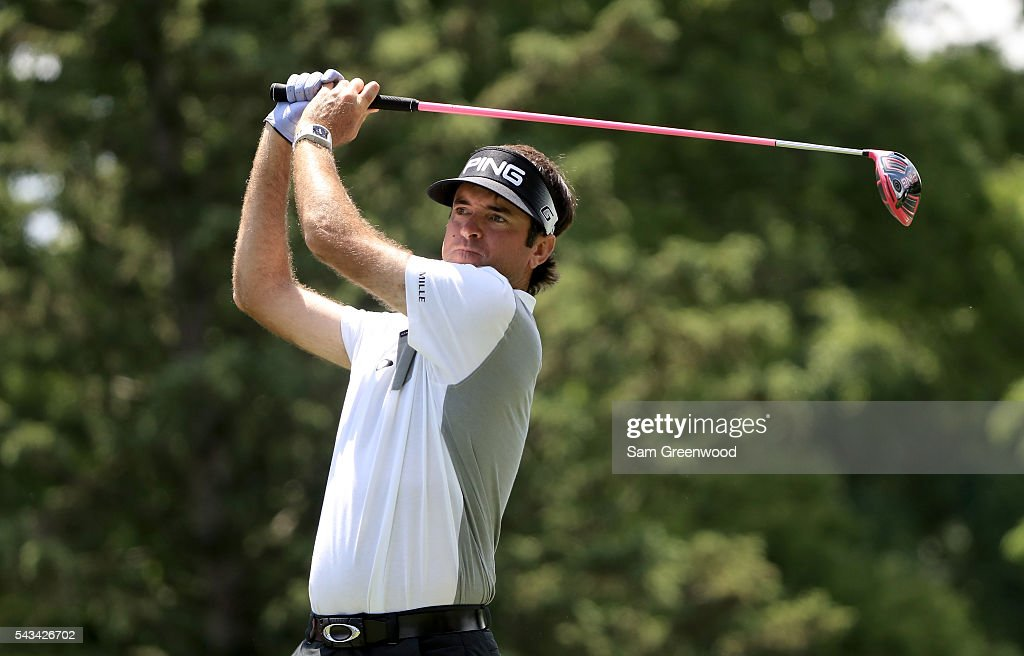 Bubba Watson hits a shot during a practice round prior to the World Golf Championships-Bridgestone Invitational at Firestone Country Club South Course on June 28, 2016 in Akron, Ohio.