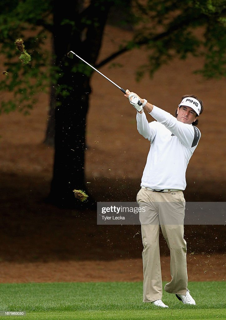 Bubba Watson hits a shot on the 3rd hole during the second round of the Wells Fargo Championship at Quail Hollow Club on May 3, 2013 in Charlotte, North Carolina.