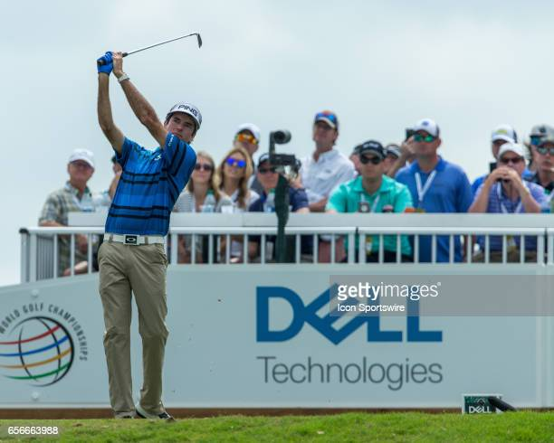 Bubba Watson hits a tee shot in front of fans during the WGCDell Technologies Match Play First Round on March 22 at Austin Country Club in Austin TX