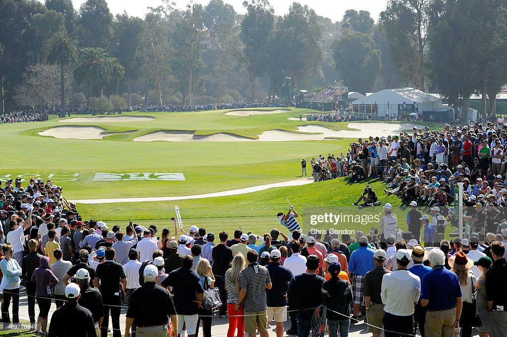 Bubba Watson hits a tee shot on the 10th hole in the final round of the Northern Trust Open at the Riviera Country Club on February 16 2014 in...