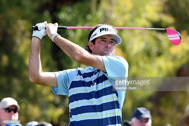 Bubba Watson hits a tee shot on the 2nd hole in the final round of the Northern Trust Open at the Riviera Country Club on February 16 2014 in Pacific...