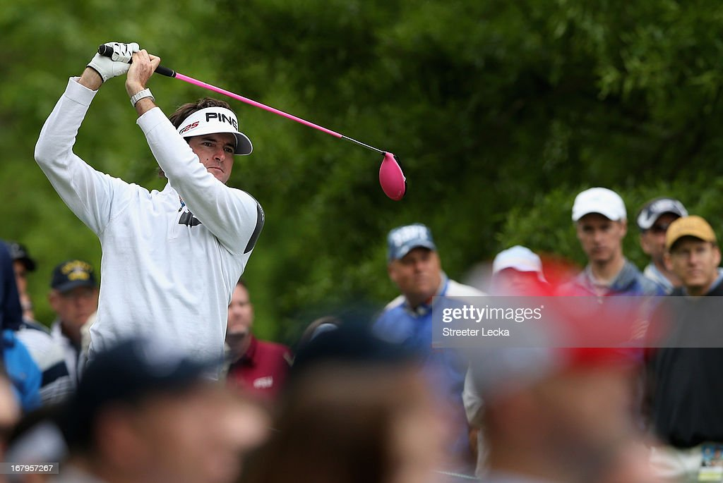 Bubba Watson hits a tee shot on the 3rd hole during the second round of the Wells Fargo Championship at Quail Hollow Club on May 3, 2013 in Charlotte, North Carolina.