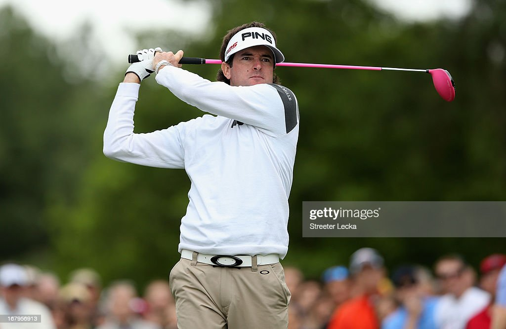 Bubba Watson hits a tee shot on the 4th hole during the second round of the Wells Fargo Championship at Quail Hollow Club on May 3, 2013 in Charlotte, North Carolina.