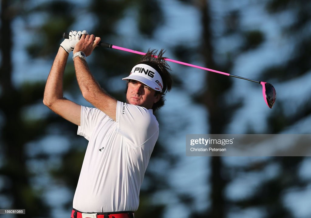 Bubba Watson hits a tee shot on the third hole during the final round of the Hyundai Tournament of Champions at the Plantation Course on January 8, 2013 in Kapalua, Hawaii.