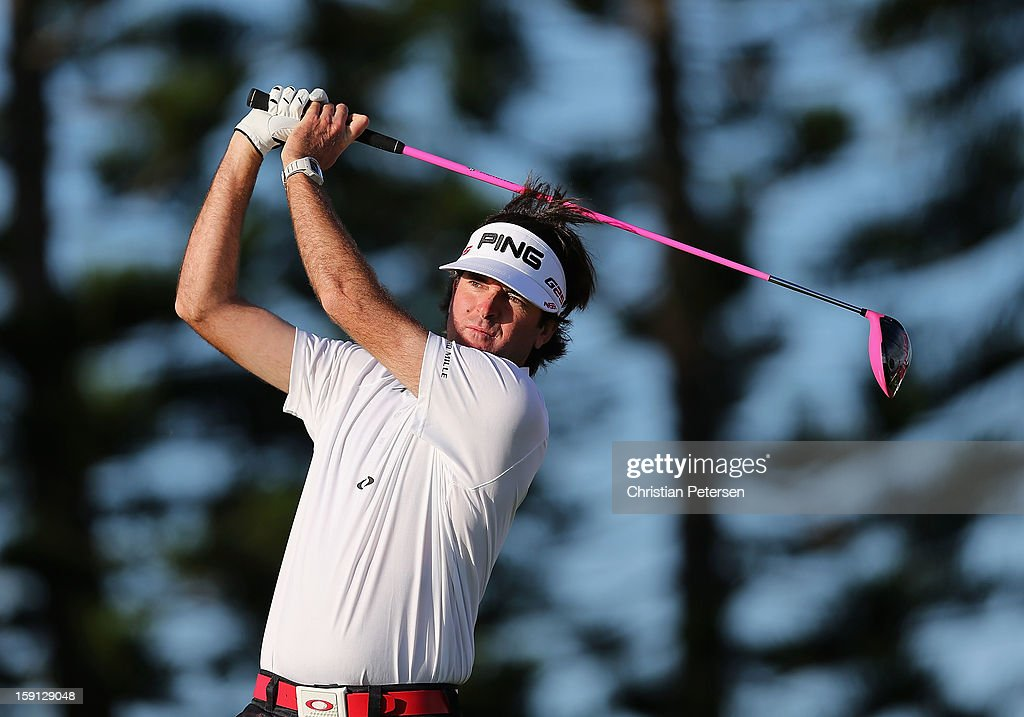 Bubba Watson hits a tee shot on third hole during the final round of the Hyundai Tournament of Champions at the Plantation Course on January 8, 2013 in Kapalua, Hawaii.