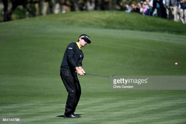 Bubba Watson hits his second shot at No 5 during the first round of the Arnold Palmer Invitational presented by MasterCard at Bay Hill Club and Lodge...