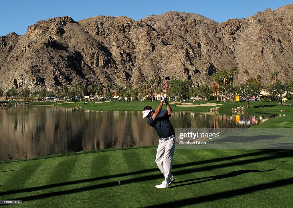 Bubba Watson hits his tee shot on the 10th hole of the Palmer Private course at PGA West during the third round of the Bob Hope Classic on January 23...