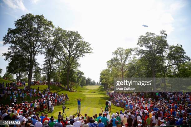 Bubba Watson hits his tee shot on the 15th hole during the final round of the Memorial Tournament presented by Nationwide Insurance at Muirfield...