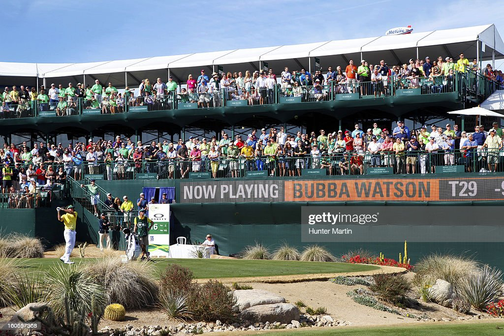 Bubba Watson hits his tee shot on the 16th hole during the third round of the Waste Management Phoenix Open at TPC Scottsdale on February 2, 2013 in Scottsdale, Arizona.