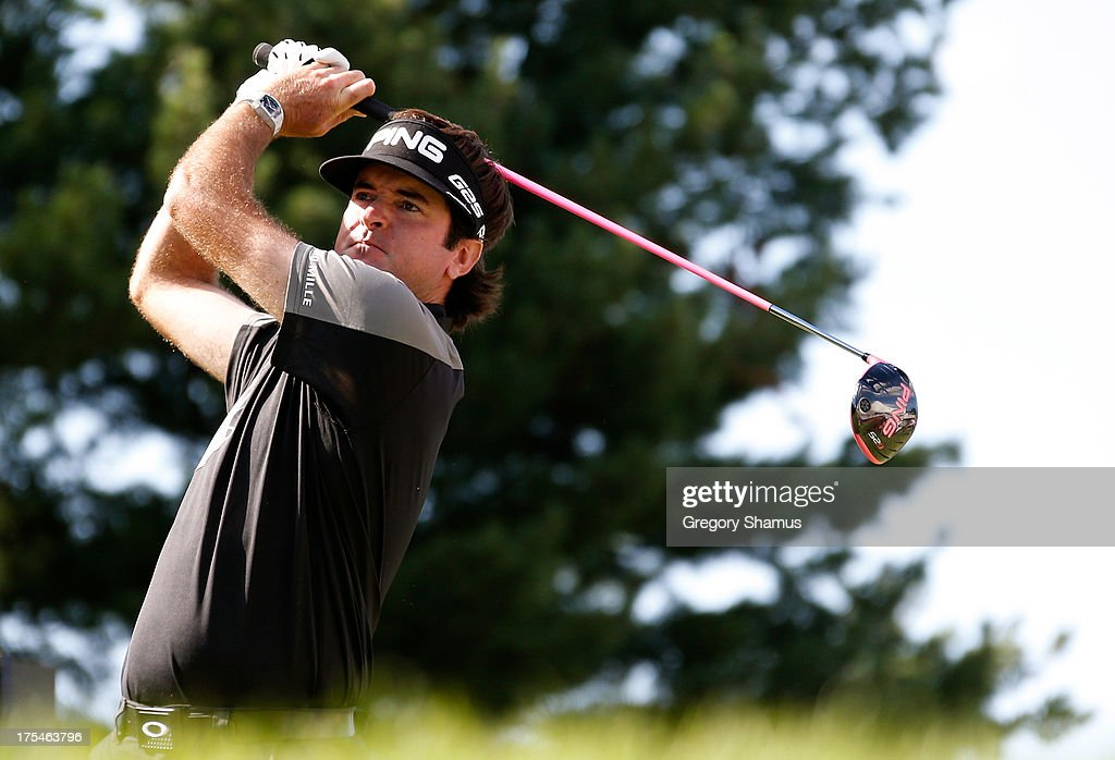 Bubba Watson hits off the 17th tee during the Third Round of the World Golf Championships-Bridgestone Invitational at Firestone Country Club South Course on August 3, 2013 in Akron, Ohio.
