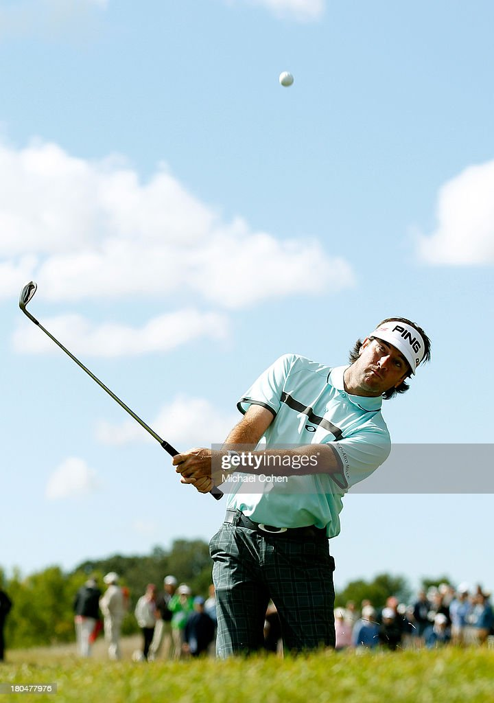 <a gi-track='captionPersonalityLinkClicked' href=/galleries/search?phrase=Bubba+Watson&family=editorial&specificpeople=597658 ng-click='$event.stopPropagation()'>Bubba Watson</a> hits onto the first green during the Second Round of the BMW Championship at Conway Farms Golf Club on September 13, 2013 in Lake Forest, Illinois.