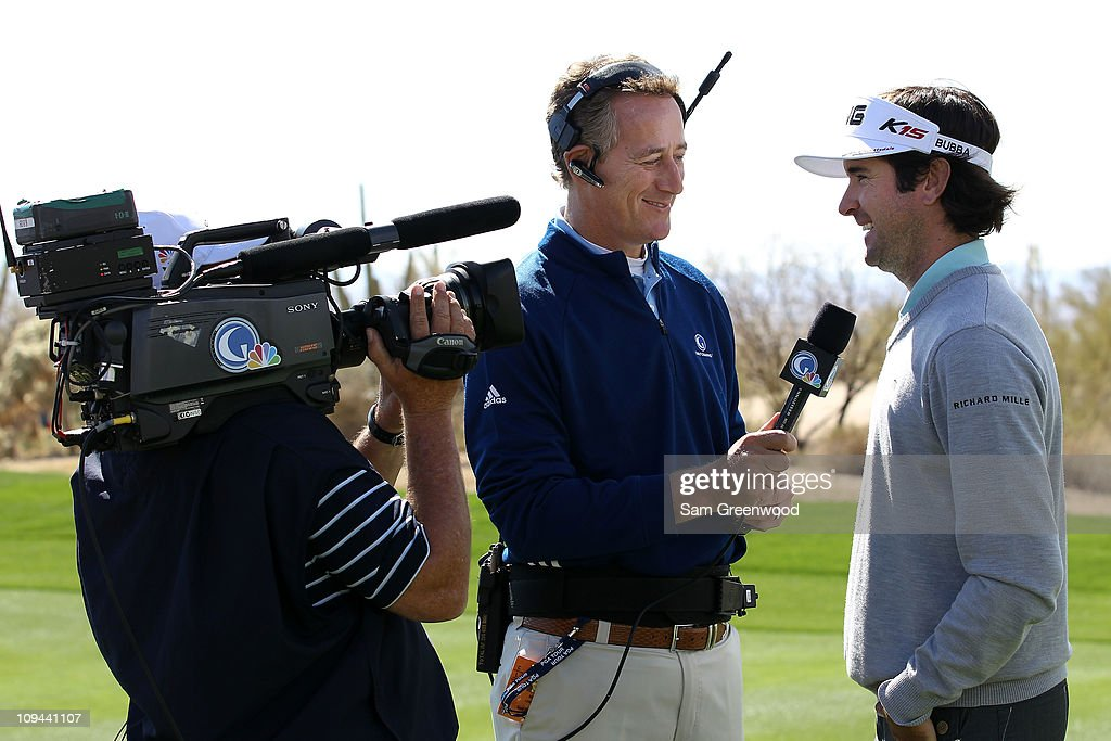 Bubba Watson is interviewed by Rich Lerner of the Golf Channel after winning his match on the 14th hole during the third round of the Accenture Match...