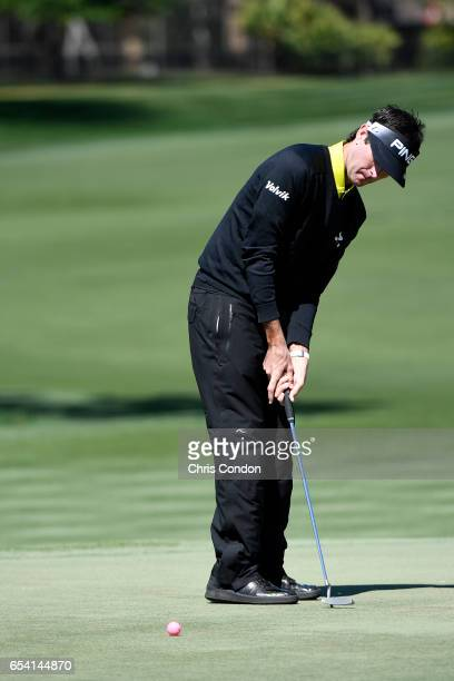 Bubba Watson misses his birdie putt at No 5 during the first round of the Arnold Palmer Invitational presented by MasterCard at Bay Hill Club and...