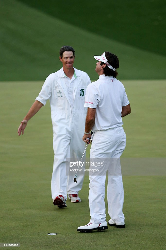<a gi-track='captionPersonalityLinkClicked' href=/galleries/search?phrase=Bubba+Watson&family=editorial&specificpeople=597658 ng-click='$event.stopPropagation()'>Bubba Watson</a> (R) of the United States celebrates with his caddie Ted Scott after winning his sudden death playoff on the second playoff hole to win the 2012 Masters Tournament by one stroke at Augusta National Golf Club on April 8, 2012 in Augusta, Georgia.