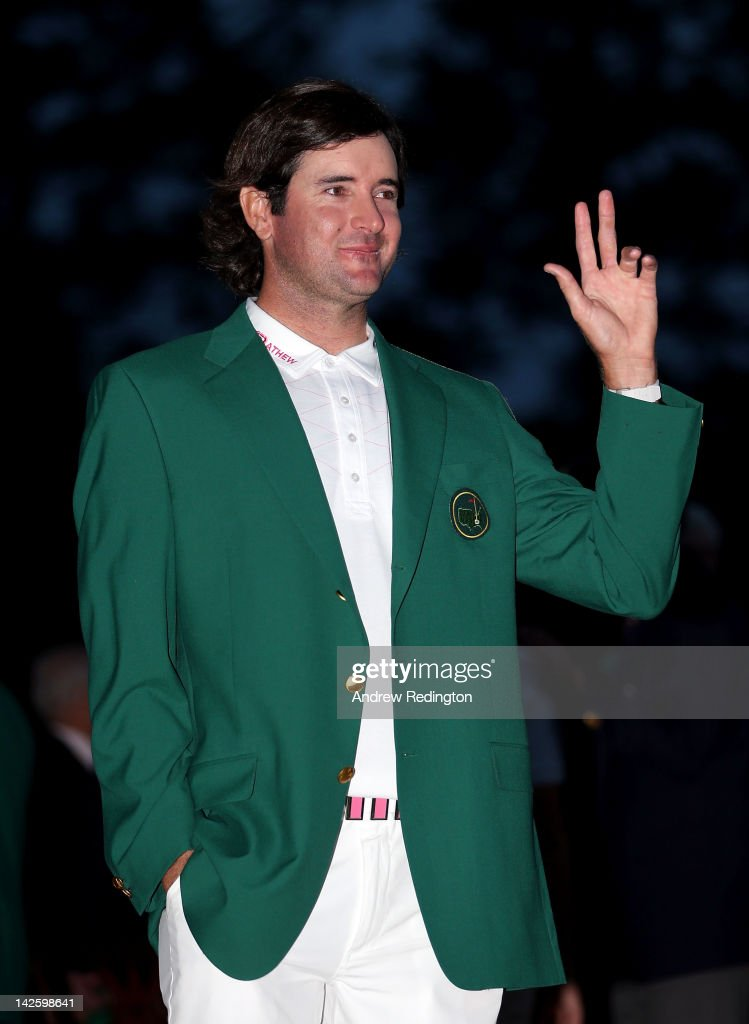 <a gi-track='captionPersonalityLinkClicked' href=/galleries/search?phrase=Bubba+Watson&family=editorial&specificpeople=597658 ng-click='$event.stopPropagation()'>Bubba Watson</a> of the United States gestures after his one-stroke playoff victory to win the 2012 Masters Tournament during the green jacket presentation at Augusta National Golf Club on April 8, 2012 in Augusta, Georgia.