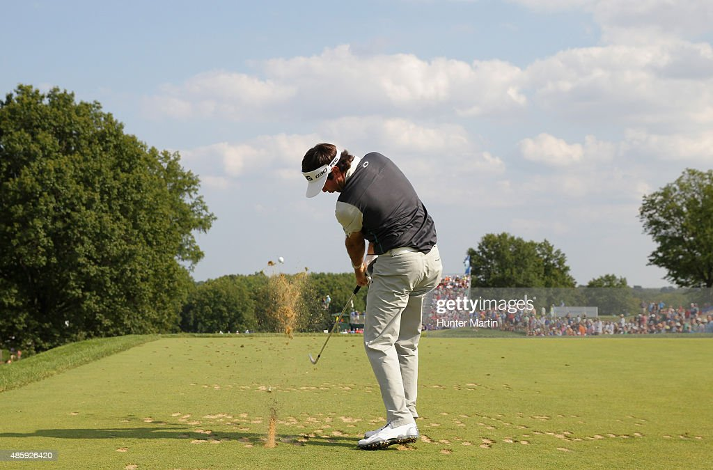 Bubba Watson of the United States hits his tee shot on the 11th hole during the third round of The Barclays at Plainfield Country Club on August 29, 2015 in Edison, New Jersey.