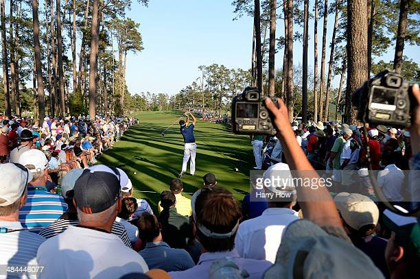 Bubba Watson of the United States hits his tee shot on the 17th hole during the third round of the 2014 Masters Tournament at Augusta National Golf...