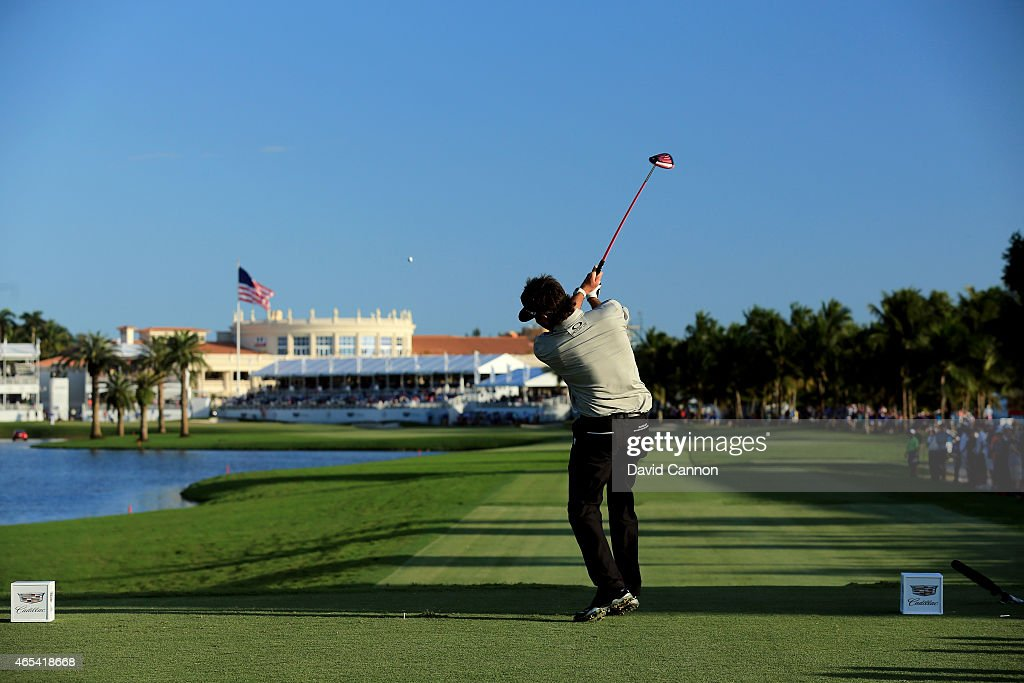 Bubba Watson of the United States hits his tee shot on the eighteenth hole during the second round of the World Golf Championships-Cadillac Championship at Trump National Doral Blue Monster Course on March 6, 2015 in Doral, Florida.