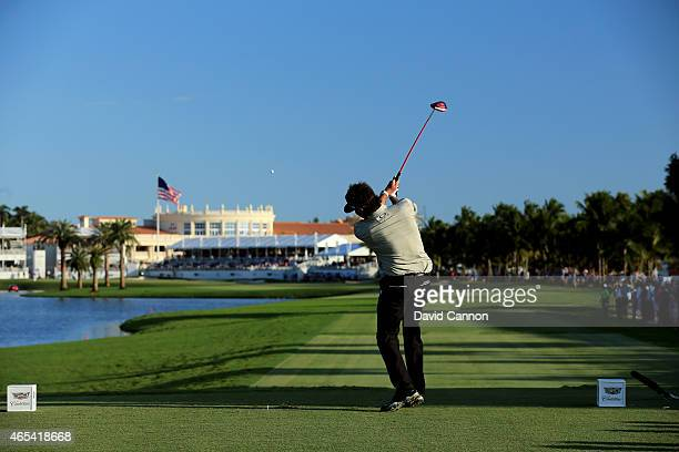 Bubba Watson of the United States hits his tee shot on the eighteenth hole during the second round of the World Golf ChampionshipsCadillac...