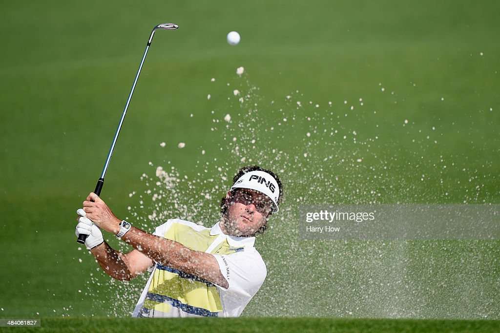 <a gi-track='captionPersonalityLinkClicked' href=/galleries/search?phrase=Bubba+Watson&family=editorial&specificpeople=597658 ng-click='$event.stopPropagation()'>Bubba Watson</a> of the United States hits out of the bunkers on the second hole during the second round of the 2014 Masters Tournament at Augusta National Golf Club on April 11, 2014 in Augusta, Georgia.