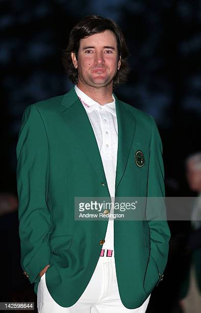 Bubba Watson of the United States looks on after his onestroke playoff victory to win the 2012 Masters Tournament during the green jacket...
