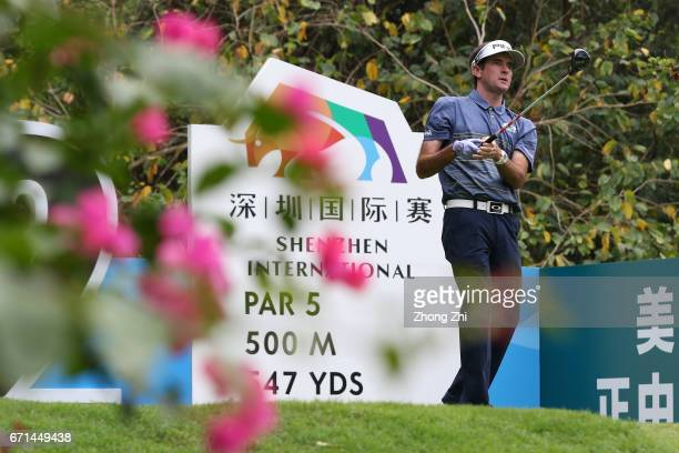 Bubba Watson of the United States plays a shot during the third round of the Shenzhen International at Genzon Golf Club on April 22 2017 in Shenzhen...