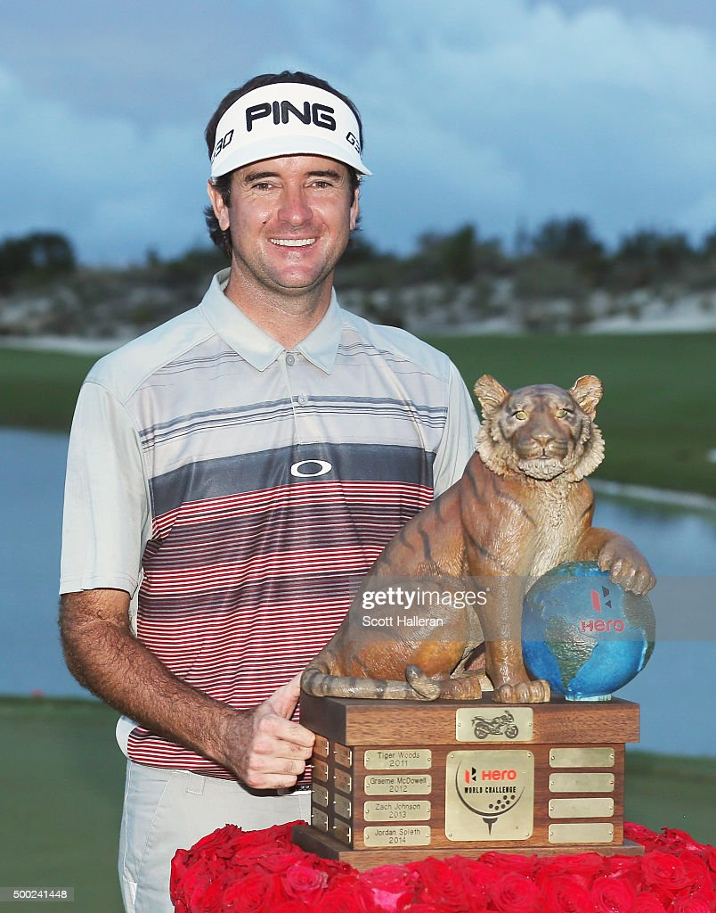 Bubba Watson of the United States poses with the trophy after his three-stroke victory at the Hero World Challenge at Albany, The Bahamas on December 6, 2015 in Nassau, Bahamas